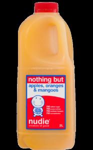 2L Nothing But Apples Oranges Mangoes Juice Front Label