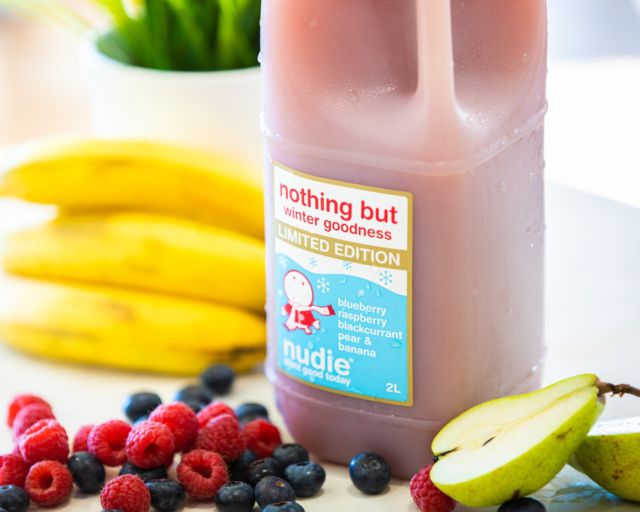 Bringing some much-needed warmth to those winter vibes! #nudie #juice #nudiejuice #limitededition #wintergoodness #nothingbut #fresh #fruit #blueberry #raspberry #blackcurrant #pear #banana